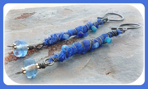 Calming Seas - Blue Recycled Sari Silk and Wire Wrapped Earrings