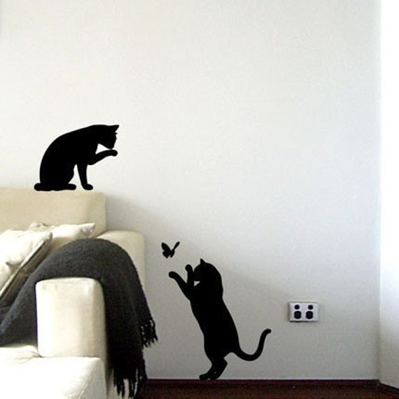 Items similar to le chat noir black cats wall decal on etsy - Dibujos para paredes ...