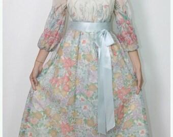 70s Garden Floral Maxi Dress Flowing Blue Satin Sash Sheer