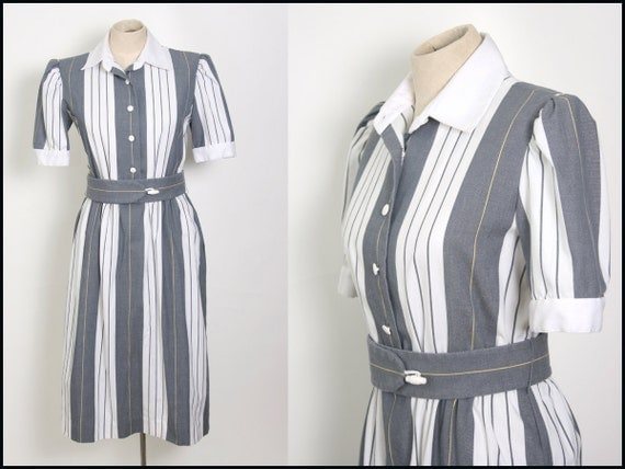 SALE - Vintage Grey and White FITTED Secretary Dress TOGGLE Belt M