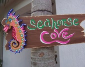 Tropical Rustic Seahorse Cove Wood Sign