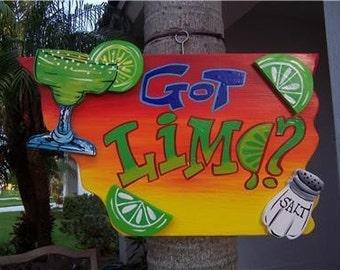 Tropical Got Lime Tiki Bar Wood Sign