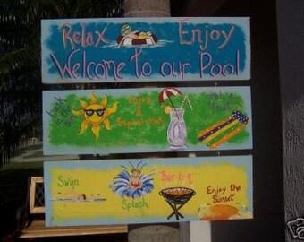 Tropical Whimsical Fun Triple Pool Wood Sign