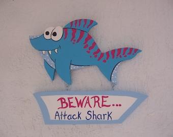 Tropical Beware Attack Shark Sign
