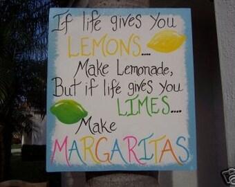 Tropical Limes Lemons Margaritas Tiki Bar Wood Sign