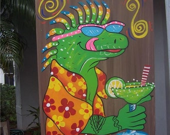 Tropical Got Lime Margarita Iguana Gecko Lizard Wood Sign
