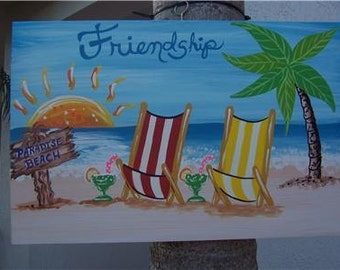 Tropical Friendship Paradise Beach Ocean Wood Sign