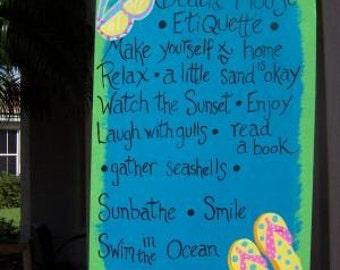 Tropical Beach House Etiquette Wood Sign