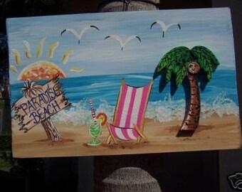 Tropical Paradise Beach Palm Tree Wood Sign