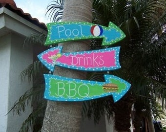 Tropical Pool Drinks BBQ Arrows Wood Sign