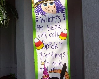 Primitive Whimsical Witch Black Cat Halloween Wood Sign