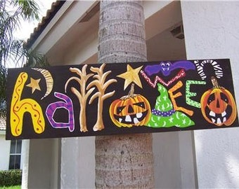 Whimsical Folk Art HALLOWEEN Wood Sign