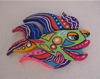 Tropical Sweet Lips Angel Fish Wood Home Decor