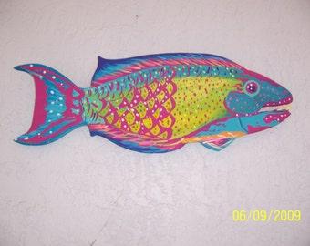 Tropical Parrot Fish Wood Home Decor