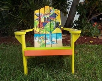 Tropical Parrot Margarita Gecko Margaritaville Style Adirondack Chair