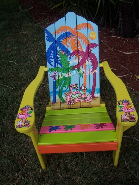 Items Similar To Tropical Adirondack Chair Handcrafted