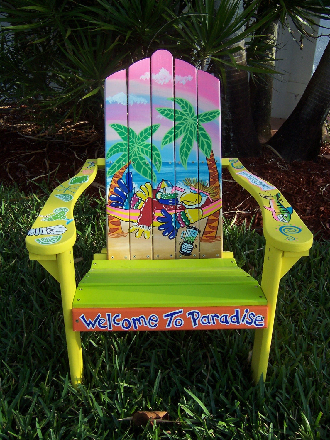 Adirondack Chair Painting -  tropical adirondack chair handcrafted hand painted parrot hammock beach palms zoom