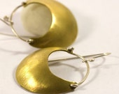 15% off Sale - Domed bronze crescent earrings