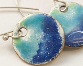 Sea spray - Dark blue and white enamel earrings