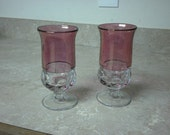 2 Kings Crown Cranberry Flashed Wine Glasses Tiffin Glassware Thumbprint Pattern