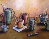 Coffee Art ... Sunday Afternoon -- 8 x 10 Glossy Print