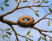 Bird nest art print, Hope For Spring -- 8 x 10 Glossy Print, great gift idea
