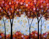 Red trees art print ... Forest of Scarlet -- 8 x 10 Glossy Print, from my original painting