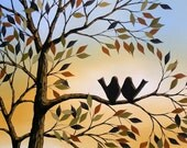 Birds in trees art print ... Viewing the Sunset With You -- 8 x 10 Glossy Print from my original painting