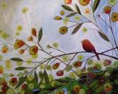 Bird art print ... Little Red -- 8 x 10 Glossy Print from my original painting