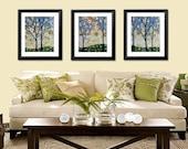 Art prints, small tree prints, Forest at Midnight  -- Set of 3 --  8 x 10 Glossy Prints
