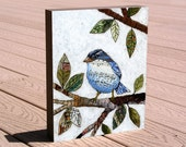 "Bird art print mounted on deep birch panel ""Songbird"", by Amy Giacomelli, Great Christmas or Birthday gift for a Bird Lover"