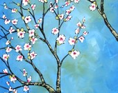 Cherry Blossoms art print ... Blue Sky Road -- 8 x 10 giclee, from my original painting