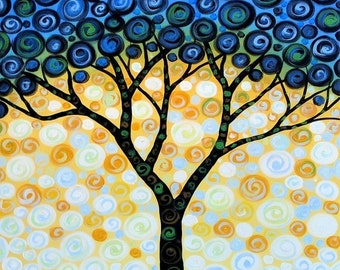 Fun tree art print ... Blueberry Tree -- 8 x 10 Glossy Print