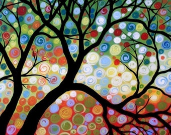 8 x 10 tree art print reproduction ... In the Limelight, from my original painting by Amy Giacomelli