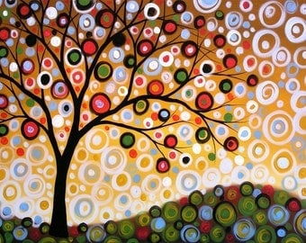 Fun tree art print ... One Summers Day -- 8 x 10 Glossy Print, from my original painting