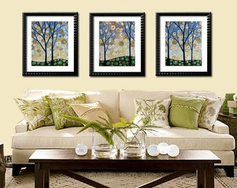 Art prints, small tree prints, Forest at Midnight  -- Set of 3 --  8 x 10 Glossy Prints