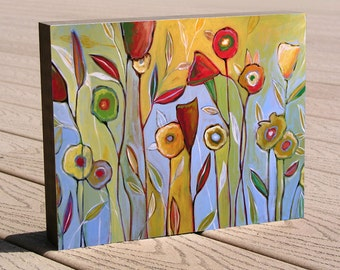 Affordable art giclee framed print ...8 x 10 print mounted on cradled birch panel...ready to hang....Joyous Garden