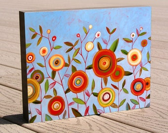 Flower art print ...8 x 10 floral mounted to a deep birch panel...ready to hang, Happy Together, ready to hang, gift ideas