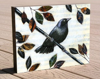 """Bird art print ...8 x 10 mounted to a deep birch panel...ready to hang....""""Raven Melody"""", by Amy Giacomelli, no framing needed"""
