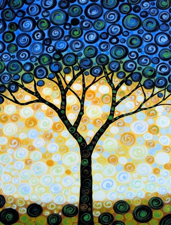 Fun tree art print ... Blueberry Tree -- 8 x 10 Glossy Print