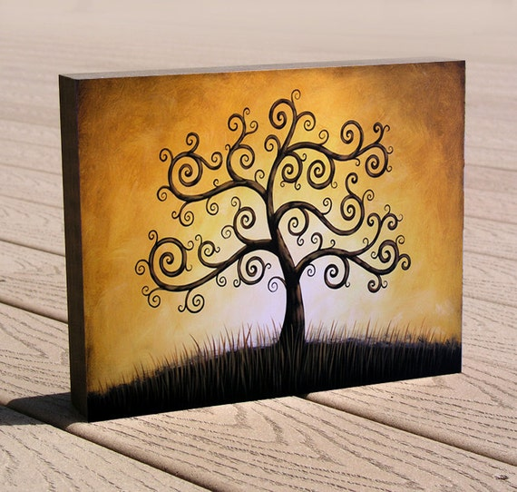 "8 x 10 tree art giclee print, mounted on cradled birch panel...ready to hang....""Tree of Life"", by Amy Giacomelli, great gift"