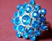 Aqua Rhinestone Cluster Adjustable Ring - Teal Retro Glam