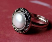"""Faux Pearl Ring - Adjustable """"Pearl"""" Ring - Vintage Style Faux Pearl Ring - Wedding - Simple and Chic Pearl Antiqued Silver Adjustable Ring"""