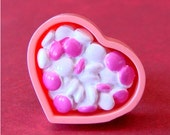 Miniature Barbie Pink Candy Dish Adjustable Ring - Sugary Sweet Heart Candy Dish