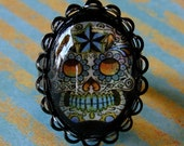 Dia de los Muertos Adjustable Ring - Sexy Sugar Skull