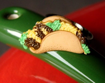 Taco Ring - Adjustable Taco Ring - Miniature Food Jewelry - Miniature Food Ring - Taco Jewelry - Mexican Ring -Holy Guacamole... It's a Taco