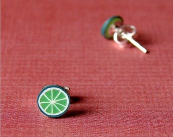Miniature Fruit Slice Earrings - Lively Lime Studs