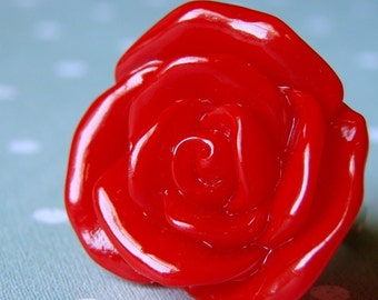 Big Bright Red Rose Adjustable Ring - A Rose is a Rose. But this one is HUGE