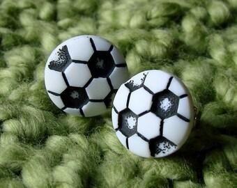 Miniature Soccer Ball Earrings - Sporty Soccer Studs
