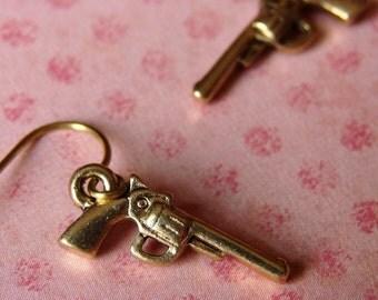 Miniature Pistol Earrings - Smokin Guns in Antique Gold